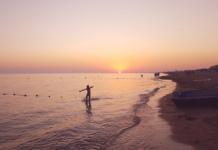 закат на пляже Анапа
