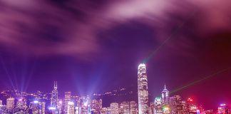 Гонконг ночью, лазерное шоу