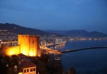 alanya ночью, крепость