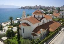 Албания, вид на море, церковь